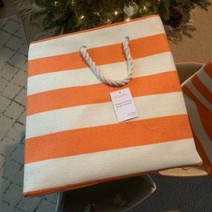 Crate and Barrel Stripe Bin - Orange, One (1) Bin